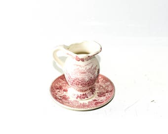 Old English Staffordshire Ware Jonroth England Small Pitcher and Plate