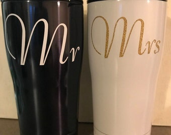 Mr. & Mrs. 20 oz Tumblers, Sold as set, Personalized cup, Personalized Tumblers