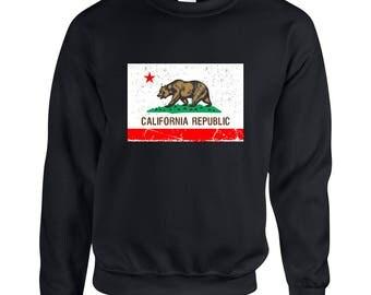 California Republic Cali Bear California Love Cali Flag Adult Clothing Unisex Sweatshirt Printed Crew Neck Sweater for Women and Men