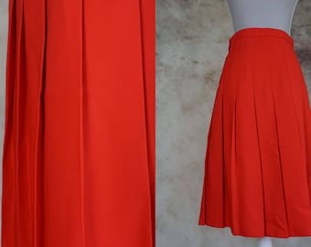 70s Red Skirt, Mod Skirt, High Waist Skirt, - Vintage Pleated Skirt, Midi Skirt, Size S, Size M, Small Medium