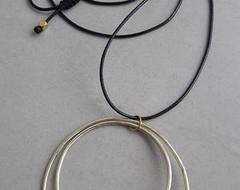 circles  handmade necklace of brass wire and white pearls