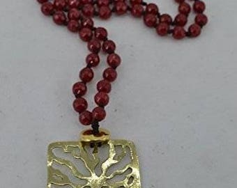 "pendant ""tree of life"" Handmade necklace - symbol of good luck - made of brass Combined with red agate"