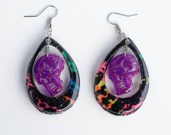 skull dangle earrings 80s earrings resin 80s earrings skull jewelry skull earrings punk earrings punk skull earrings handmade earrings