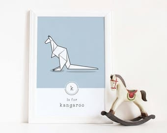 Kangaroo Print, Kangaroo Illustration, Geometric, Origami Art, Nursery Art, Contemporary Animal, Alphabet Print, Office Wall Art, Pastel,