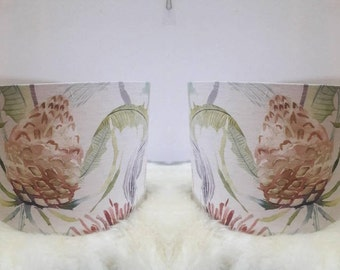 Pair of Voyage Fabric Lampshades made with Voyage Tiverton Pomegranate Drum Handmade in UK Light Shade Lamp