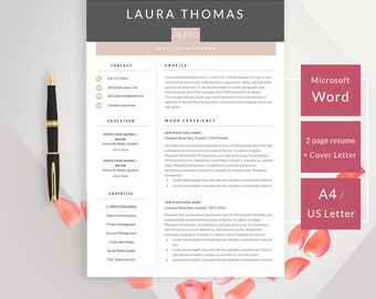 Professional Minimal Resume Template With Cover Letter | CV Template For  Microsoft Word Modern Resume Design  Cover Letter Resume Template