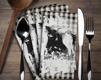 Pig Napkin Set (4 pieces), Pig Decor, Pig Linen Set,Napkins Cloth Set,Napkins,Have  fun in your kitchen or at tea time!