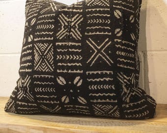 "18"" black vintage Mudcloth pillow cover"