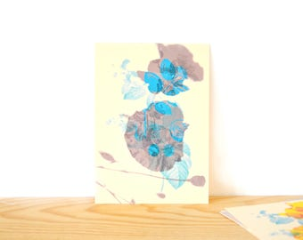 Flowers - blue and grey card