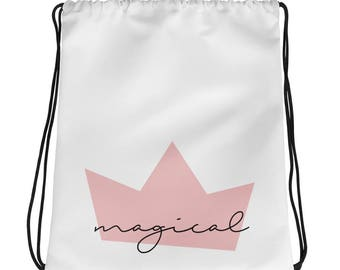 bag for girl, magical bag, crown bag, girls library bag, gift for girl, pink and white