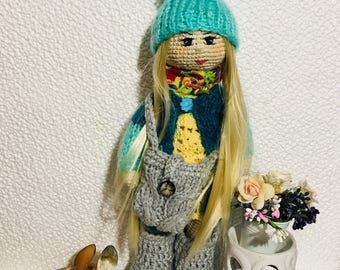 Handmade doll with clothes Crochet doll with wire fram in Gift for girl