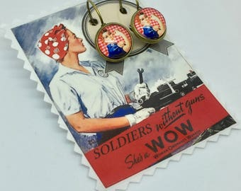 "Little Rosie The Riveter ""vichy"" hoop earrings"