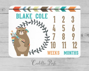 MILESTONE Baby Blanket, Tribal BEAR Milestone Blanket, Tribal Baby Photography Backdrop, Personalized Boy Name, Newborn Boy Shower Gift