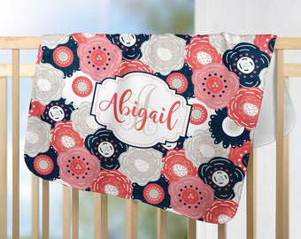 Navy Coral Monogram Blanket, Personalized Flower Blanket, Navy Coral Nursery-Girl Name Blanket-Baby Shower Gift-Swaddle Blanket Pillow Set