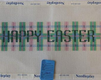 Happy Easter Hand Painted Needlepoint Banner