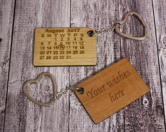 Personalized Calendar Keychain, Wooden 5 Years Anniversary Gift, Valentines day gift, Save the Date Keychain, 2 sides engraving