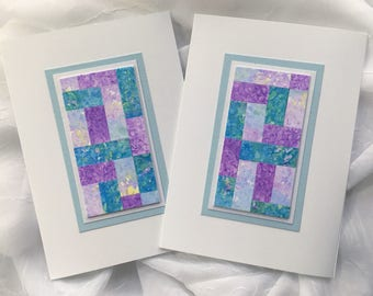 Quilt blank cards, set of 2, original art, individually made from hand-painted papers: A6, fine card, notecard, SKU BLA61011