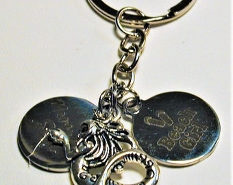 Mermaid and Jersey Shore  Beach Inspired Charm Key Ring