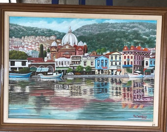 The View of the Port, Mytilene, Lesvos, Island, Greece, Reflections, Maniatis, oil painting