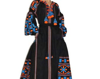 Bohemian Dresses Open Caftan Dress Kaftan Abaya Long embroidered Custom Boho dress Ethnic Ukrainian Embroidery Vyshyvanka Dress Vishivanka