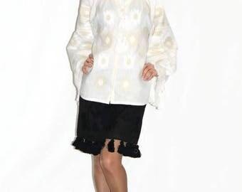 Vishivanka Vyshyvanka Embroidered blouse Custom Bohemian Clothing Mexican Embroidery Fashion Ukrainian Shirt White Linen Boho Blouses