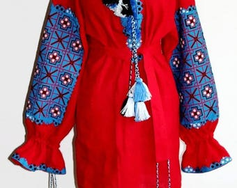 Embroidered tunic Red Linen boho dress Vyshyvanka Bohemian Clothes Ukrainian Dresses Custom Embroidery Ethnic Ukraine Mexican Embroidery