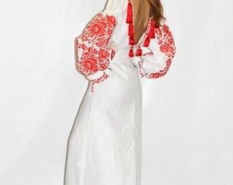 Backless Dress Kaftan Abaya Dresses Ukrainian Embroidery Boho Clothes Vyshyvanka Vishivanka Maxi Embroidered Dress Ethnic Ukrainian