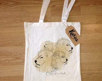 Lions cloth bag, tote bag Koikima Store, illustration, woman bag, man bag, cotton bag, natural, gift, tote bag, original