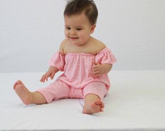 Coral floral playsuit, off the shoulder, baby clothes, baby girl clothes, baby girl shorts, toddler, pink baby, pink playsuit, baby clothing
