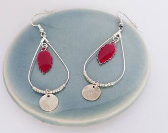 Earrings Silver Blue or red