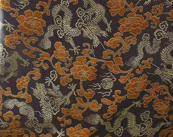 Chinese brocade satin fabric material dull gold dragon on coffee brown embroidered by the 0.5 YARDS, Yards Meters cbs 629