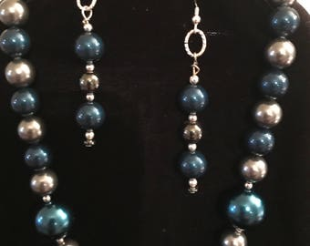 "Blue and Gray Beaded Necklace (16"") and Earring Set"