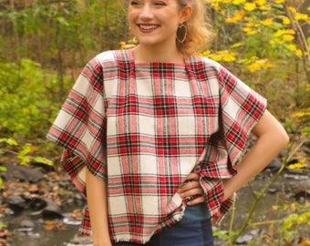 Women's Plaid Flannel Poncho Top