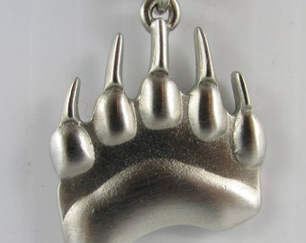 """New """"Symbol of Strength""""  Polar Grizzly """"Bear Track"""" Necklace  Pewter Made in Canada"""