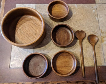 Vintage Teak Salad Set w/ Matching Serving Utensils