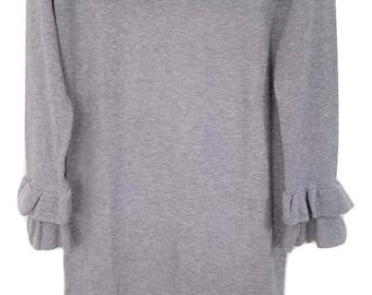 Womens Long Sleeve Grey Ruffle Modest Dress