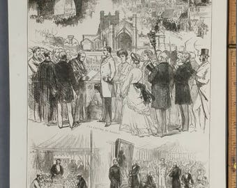 Chester and Eaton Hall Festivities on the Coming of Age of Earl Grosyenor.  Large Antique Engraving