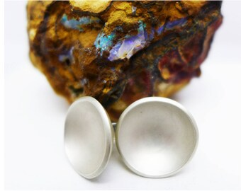 silver dome stud earrings