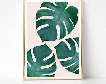 Monstera Leaf Print, Monstera Plant Wall Art, Tropical Decor, Botanical Art Print, PRINTABLE Art, Monstera Poster, Modern Home Decor