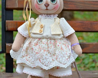 Cat, Stuffed cat,  Handmade doll, Textile doll, Soft cat, Textile cat, Interior doll, Fabric doll, Art doll, Decor dolls, Girl gift