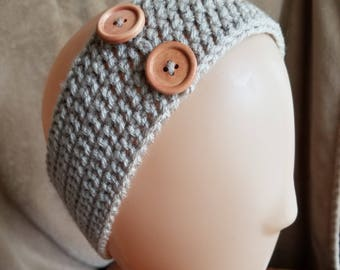Double Crochet Headband with Medium Wood Buttons