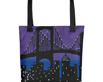 The New York Skyline - Amazingly beautiful full color tote bag with black handle featuring children's donated artwork.