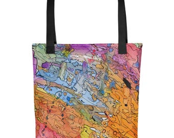 Rainbow Maps - Amazingly beautiful full color tote bag with black handle featuring children's donated artwork.