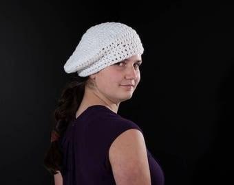 White Crochet Beret