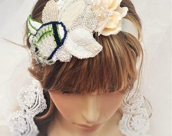 12's Clothing / Floral Bridal Hairpiece / Seahawks Wedding / Seahawks Clothing for Women / 12s / Dallas Cowboy Wedding / Green Bay Packers