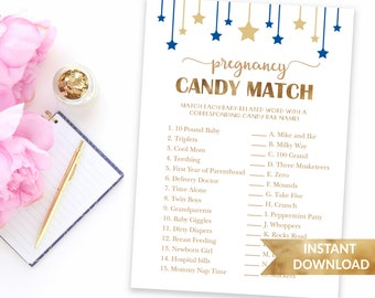 Navy blue Pregnancy candy match baby shower game | How sweet it is baby | Printable baby shower game | Baby boy blue theme shower games