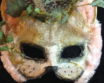 pink bunny rabbit mask creepy silly cool costume animal cosplay kids adult easter wearable art pagan paper mache animal mask original party