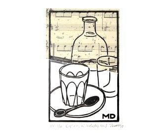 Linocut of Café scene in Black–Linoprint–Captains of Industry Café Melbourne–Chine Collé–Lars Danielsson–Liberetto–Printmaking