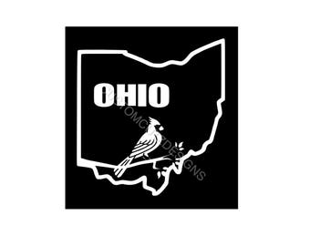 OHIO Car Decal, Car Decal, Vinyl Decal, Ohio State, Cardinal, Laptop Decal, Tablet Decal