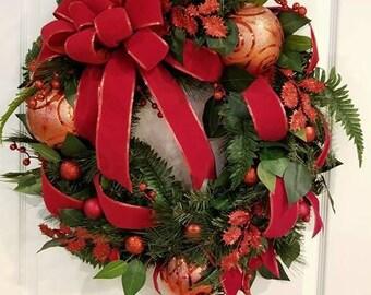 Classic Red Velvet Christmas Wreath, Christmas Wreath, Red Christmas, Bow Wreath, Ornament Wreath, Classic Christmas, Traditional Christmas,